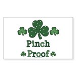 Pinch Proof Shamrock Rectangle Sticker