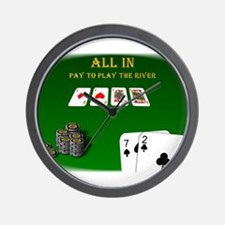 All In, Pay to Play River Wall Clock