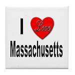 I Love Massachusetts Tile Coaster