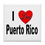 I Love Puerto Rico Tile Coaster