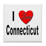 I Love Connecticut Tile Coaster