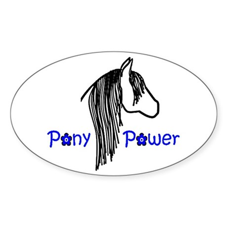 Pony Power Blue Oval Sticker