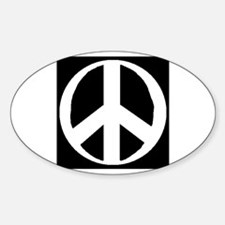 """Classic Peace Symbol"" Oval Decal"