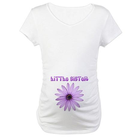 Little Sister Lavender Flower Maternity T-Shirt