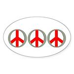 Internation Three Peace Symbol Oval Sticker