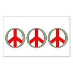 Internation Three Peace Symbol Sticker (Rectangula