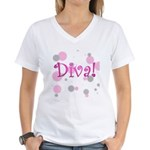 Diva Bubbles Women's V-Neck T-Shirt