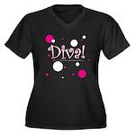 Diva Bubbles Women's Plus Size V-Neck Dark T-Shirt