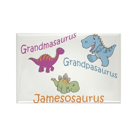 Grandma, Grandpa, & Jamesosau Rectangle Magnet