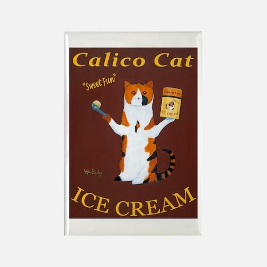 Calico Cat Ice Cream Rectangle Magnet