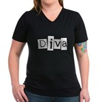 Abstract Diva Women's V-Neck Dark T-Shirt