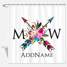 Boho Chic Arrow Monogram Shower Curtain
