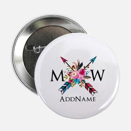 """Boho Chic Arrow Monogram 2.25"""" Button (10 pack)"""