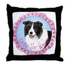 Border Collie Valentine Throw Pillow