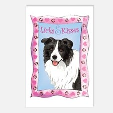 Border Collie Valentine Postcards (Package of 8)