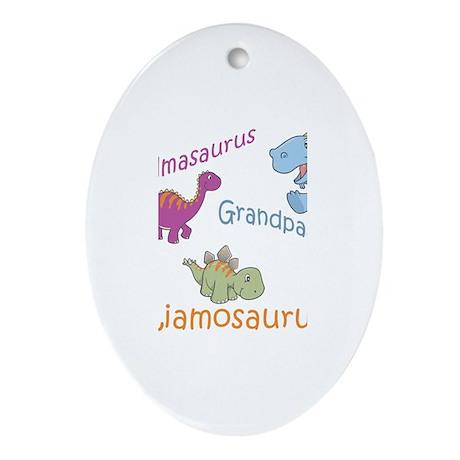 Grandma, Grandpa, & Liamosaur Oval Ornament