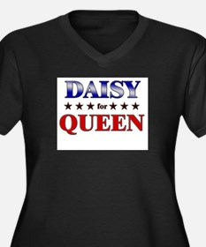 DAISY for queen Women's Plus Size V-Neck Dark T-Sh