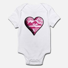 Pink Camo Solid Valentine Heart Infant Bodysuit