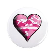 "Pink Camo Solid Valentine Heart 3.5"" Button (100 p"