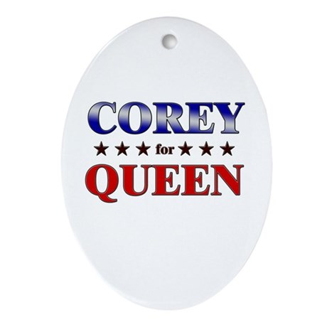COREY for queen Oval Ornament