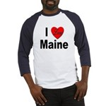 I Love Maine (Front) Baseball Jersey
