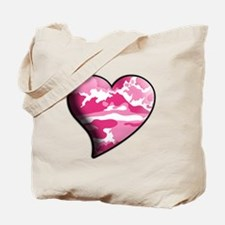Pink Camo Swaying Solid Valentine Heart Tote Bag