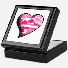 Pink Camo Swaying Solid Valentine Heart Keepsake B