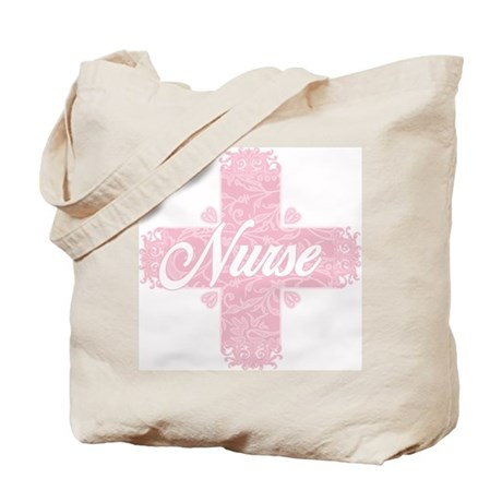Nurse Pink Lacy Cross Tote Bag