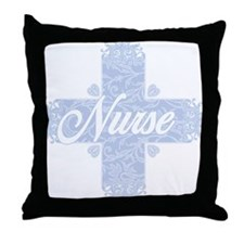 Nurse Blue Lacy Cross Throw Pillow