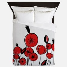 Beautiful Red Whimsical Poppies Queen Duvet