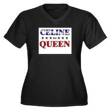 CELINE for queen Women's Plus Size V-Neck Dark T-S