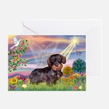 Cloud Angel & Wire Haired Dachshund Greeting Card