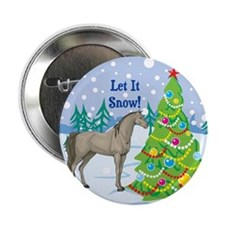 """Let It Snow Arabian Horse Holiday 2.25"""" Button"""