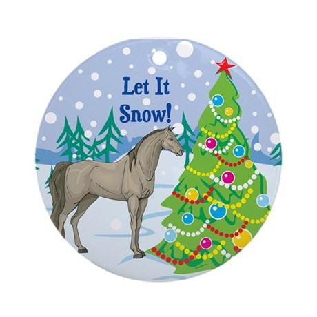 Let It Snow Arabian Horse Holiday Ornament (Round)