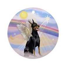 Dobie Angel in Clouds Ornament (Round)