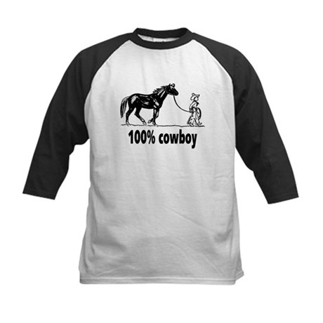 100% cowboy Boy Leading Horse Kids Baseball Jersey