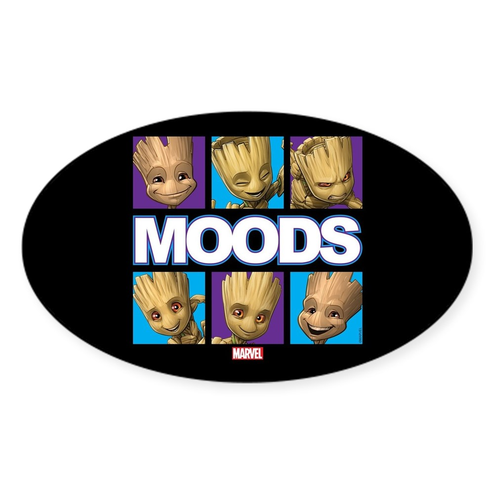 219253973 CafePress GOTG Groot Moods Oval Bumper Sticker Euro Oval Car Decal