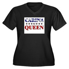 CARINA for queen Women's Plus Size V-Neck Dark T-S