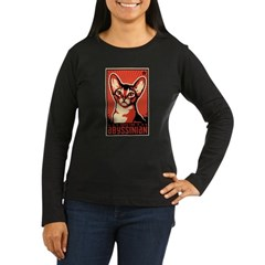 Obey the Abyssinian! Women's Long Slv Dark T