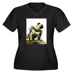 Vinny the Pug Women's Plus Size V-Neck Dark T-Shi