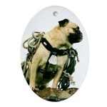 Vinny the Pug Oval Ornament