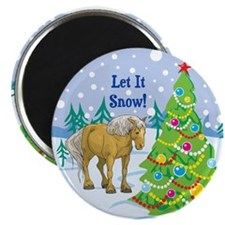 "Let It Snow Belgian Horse Holiday 2.25"" Magnet (10"