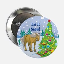 """Let It Snow Belgian Horse Holiday 2.25"""" Button"""