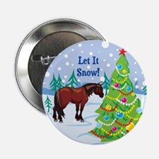 """Let It Snow Clydedale Holiday 2.25"""" Button"""
