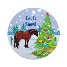 Let It Snow Clydedale Holiday Ornament (Round)