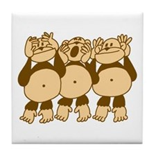See No Evil Monkeys Tile Coaster