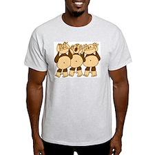 See No Evil Monkeys Ash Grey T-Shirt