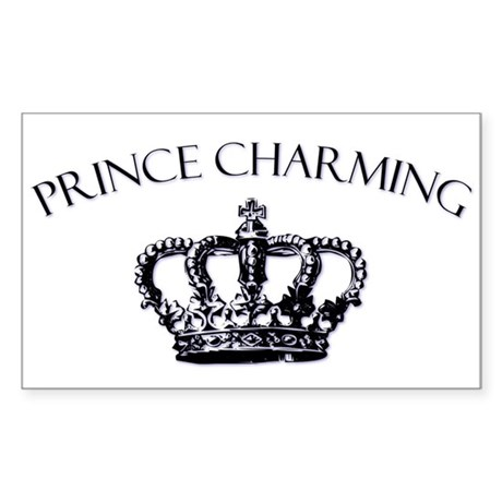 Prince Charming Crown Rectangle Sticker