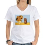 Sunflowers - Doxie (LH,S) Women's V-Neck T-Shirt