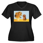 Sunflowers - Doxie (LH,S) Women's Plus Size V-Neck